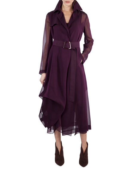 Akris Majesty Belted Silk Georgette Trench Coat, Purple