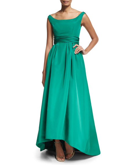 Off-the-Shoulder High-Low Gown, Green
