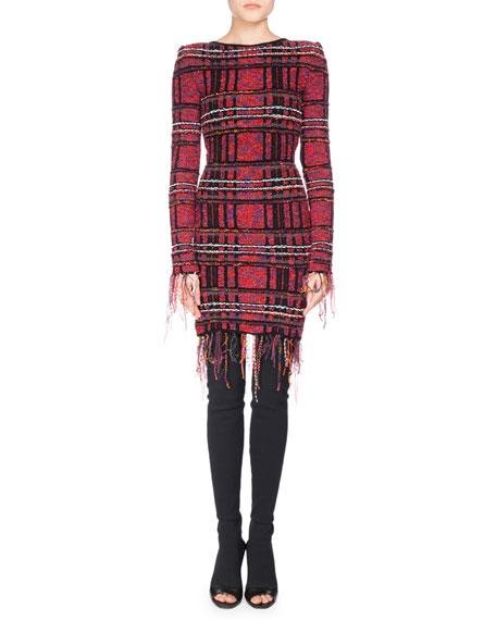 Balmain Long-Sleeve Fringe-Trim Tweed Minidress, Pink/Black