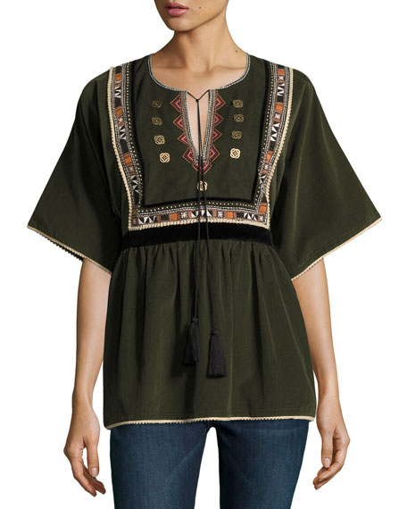 Embroidered Corduroy Peasant Blouse | Neiman Marcus