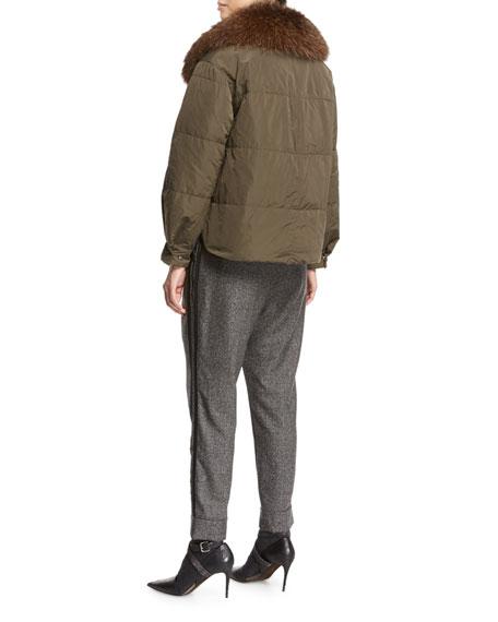 Taffeta Puffer Jacket with Fox Fur Collar