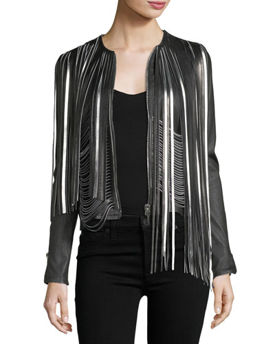 Retrograde Fringed Leather Biker Jacket