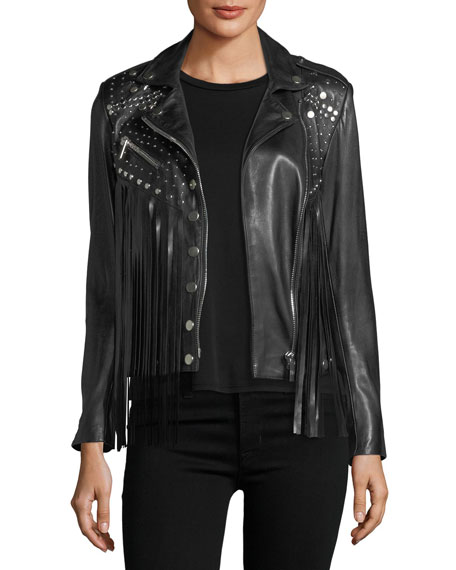 Nour Hammour Whiskey Star-Studded Fringed Leather Moto Jacket