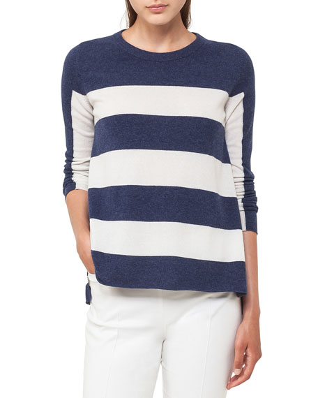 Akris punto Crewneck Long-Sleeve Striped Wool-Cashmere Knit