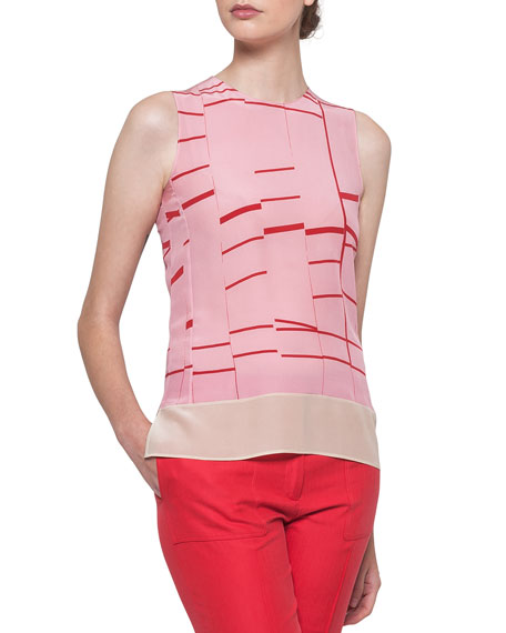 Akris Round-Neck Sleeveless Broken-Stripes Silk Blouse and