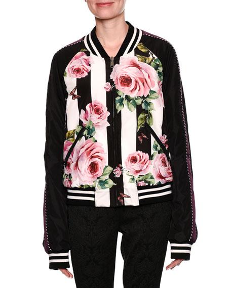 Dolce & Gabbana  STRIPED ROSE-PRINT REVERSIBLE BOMBER JACKET