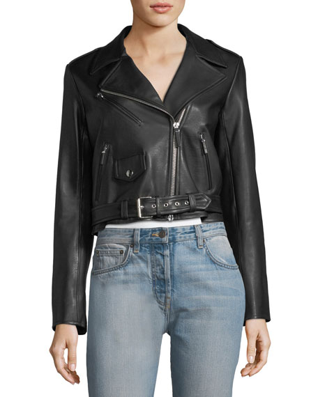 Perlin Zip-Front Leather Moto Jacket