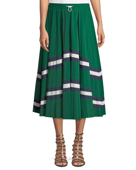 Jersey Lycra® Plisse Midi Skirt with Chevron Lace
