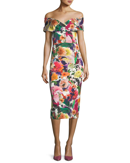 CUSHNIE Alba Off-the-Shoulder Floral-Print Fitted Cocktail Dress