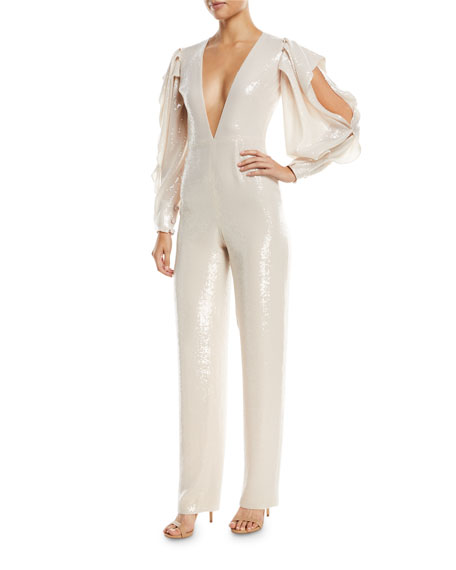 Rubin Singer Plunging Sequined Straight-Leg Jumpsuit with Slit