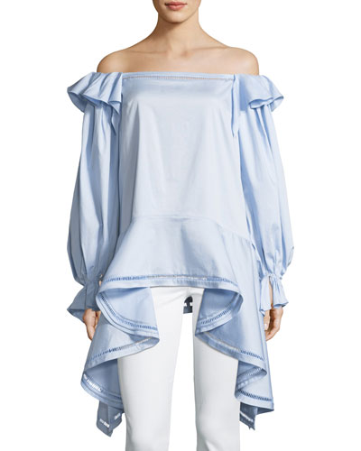 Off-the-Shoulder Stretch Cotton-Poplin Top