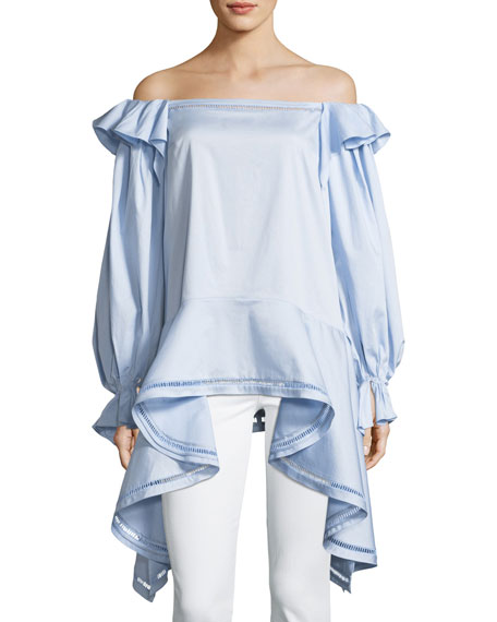 Zac Posen Off-the-Shoulder Stretch Cotton-Poplin Top