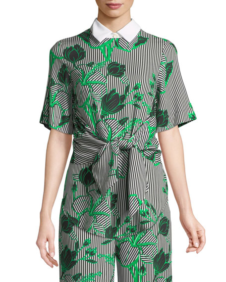 Lela Rose Linear Floral-Printed Tie-Front Top with Detachable