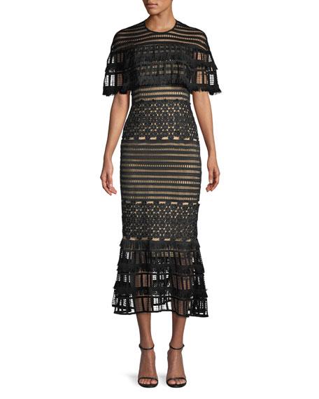Round-Neck Grid-Guipure Lace Fringed Midi Dress