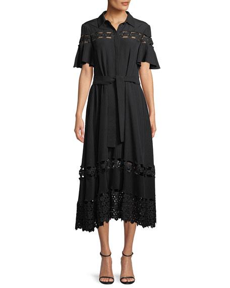 Lela Rose Flutter-Sleeve Textured Silk Cloque Shirtdress with