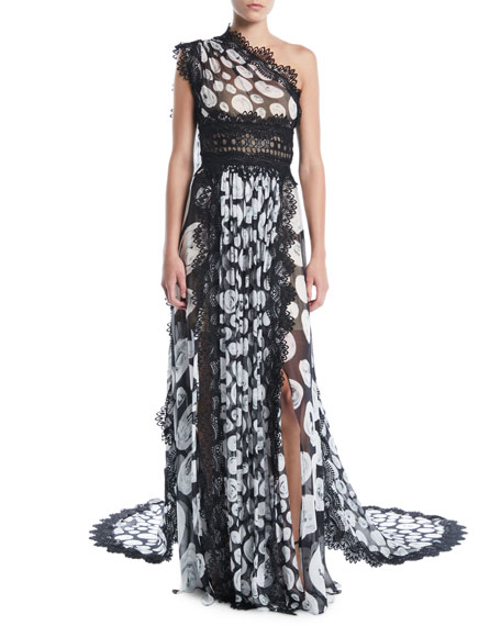 One-Shoulder Printed Organza Evening Gown with Lace Trim