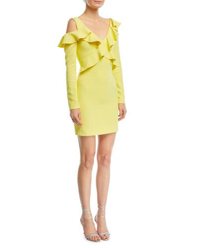 Bella Long-Sleeve Cold-Shoulder Ruffled Mini Dress