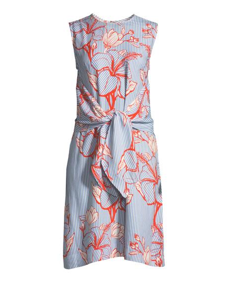 Sleeveless Tie-Waist Striped Floral-Print Tunic Dress
