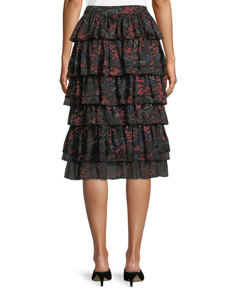 Tiered Floral-Print Silk Chiffon Skirt