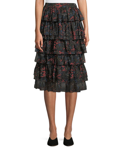 Co Tiered Floral-Print Silk Chiffon Skirt