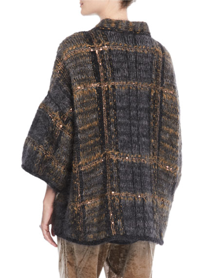 Mohair-Blend Plaid-Sequin Cardigan