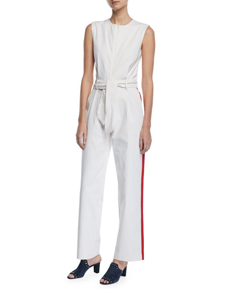 Carolina Ritzler Sleeveless Zip-Front Racer-Stripe Belted Cotton