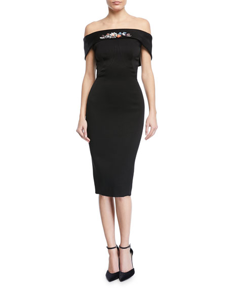 Zac Posen Off-the-Shoulder Embroidered Sheath Dress