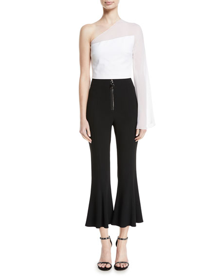 High-Waist Cropped Flare Pants w/ Dual Zip