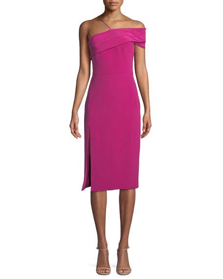 CUSHNIE Twisted-Bustier Sleeveless Silk Crepe Sheath Dress