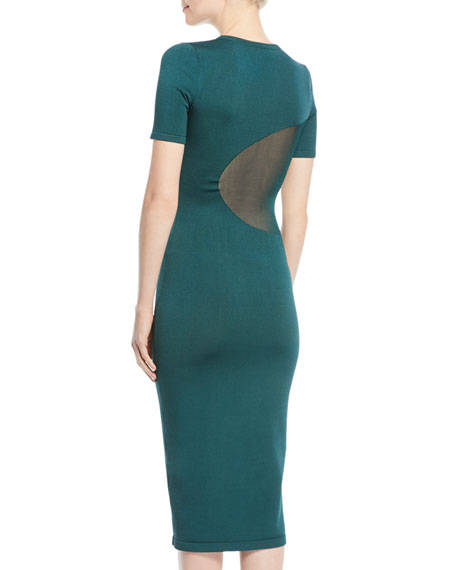 Short-Sleeve Crewneck Fitted Knit Pencil Dress w/ Sheer Insets