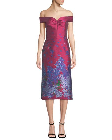 Off-the-Shoulder Sweetheart Neckline Floral-Jacquard Cocktail Dress