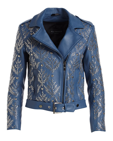 Mary-Jane Zip-Front Studded Lamb Leather Moto Jacket