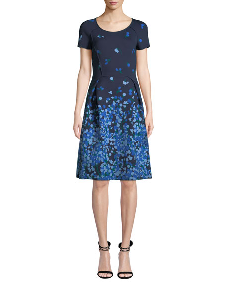 Carolina Herrera Floral Short-Sleeve Stretch Dress