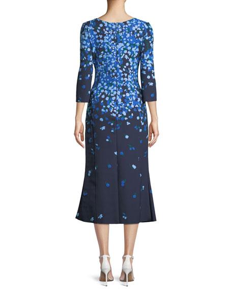 V-Neck 3/4-Sleeve Floral-Print Midi Cocktail Dress