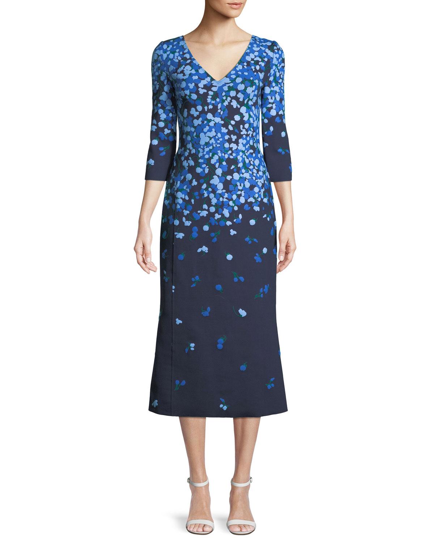 V Neck 3 4 Sleeve Fl Print Midi Tail Dress