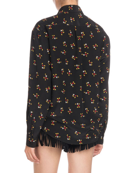 d408a88796d Image 2 of 2: Saint Laurent Mickey Mouse Button-Front Long-Sleeve Silk