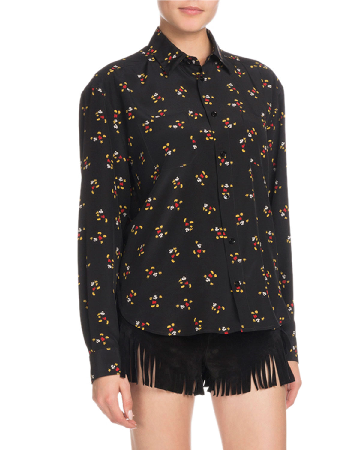 b7a6e4b547f Saint Laurent Mickey Mouse Button-Front Long-Sleeve Silk Classic Blouse