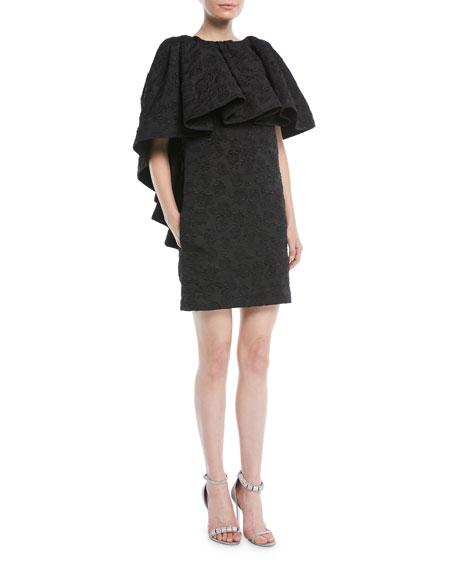 CALVIN KLEIN 205W39NYC High-Neck Ruffle Floral-Jacquard Mini Dress