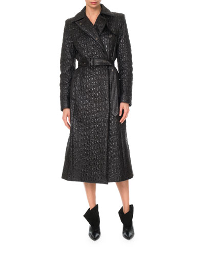 Quilted Belted Nylon Trench Coat