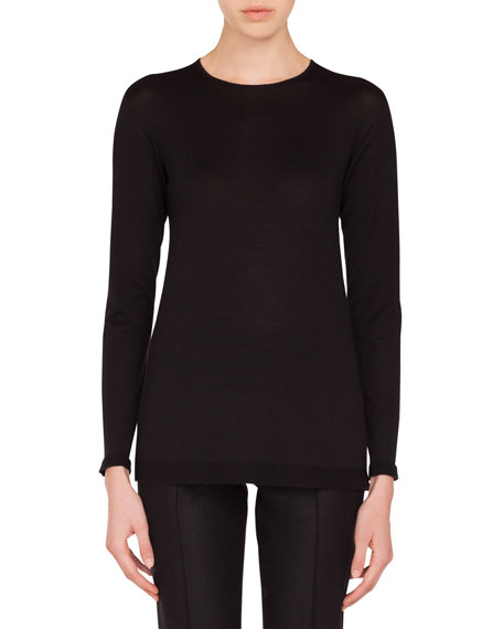 Round-Neck Long-Sleeve Cashmere-Silk Knit Tunic