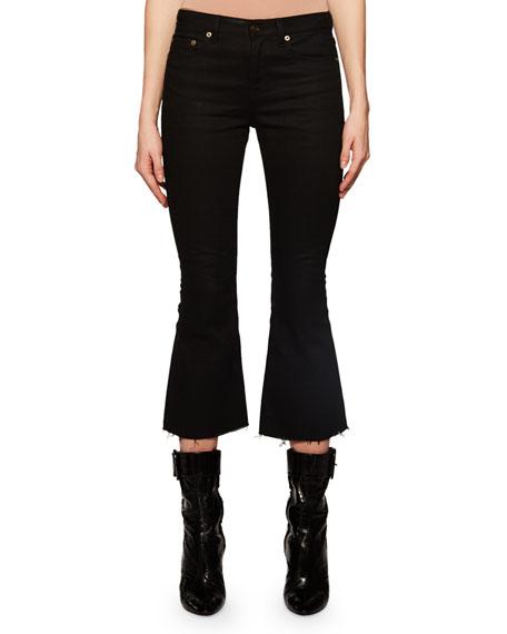 Saint Laurent Flared-Leg Cropped Jeans w/ Raw Hem