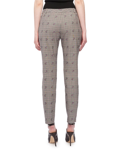 Henri Floral-Embroidered Flared-Leg Prince of Wales Check Trousers