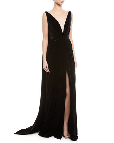 Deep V-Neck Sleeveless Cape-Back Column Velvet Evening Gown