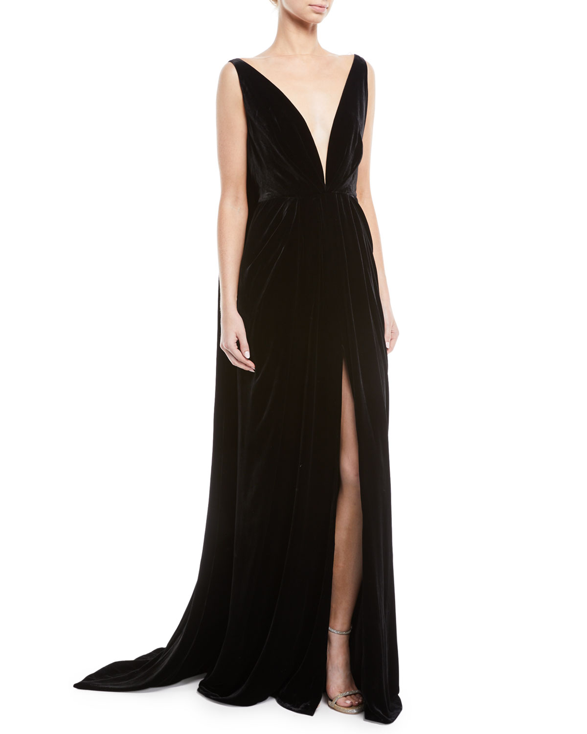 Oscar de la Renta Deep V-Neck Sleeveless Cape-Back Column Velvet ...