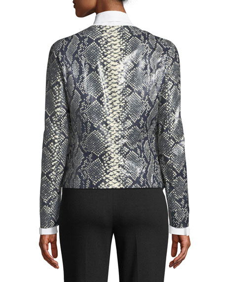 Button-Front Snake-Print Lamb Leather Short Jacket w/ Golden Buttons
