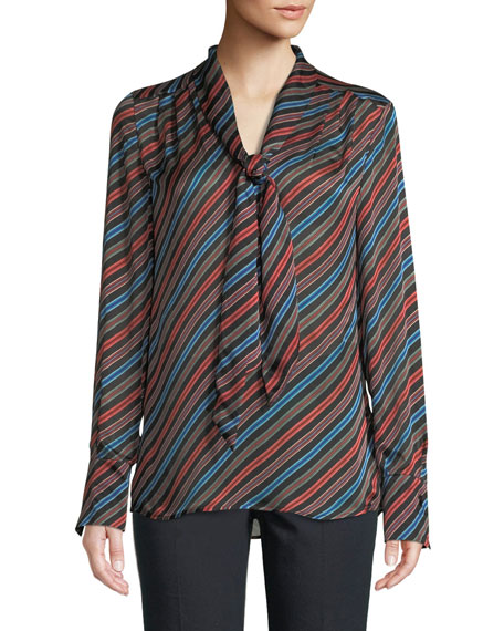 Tie-Neck Long-Sleeve Striped Silk Blouse