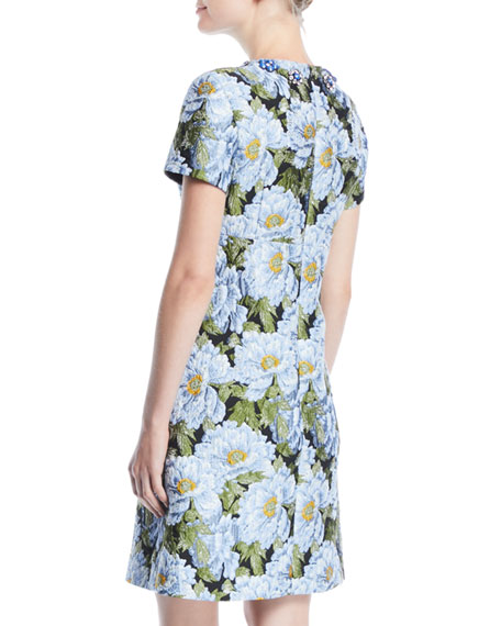 Jewel-Neck Short-Sleeve Floral-Jacquard Day Dress