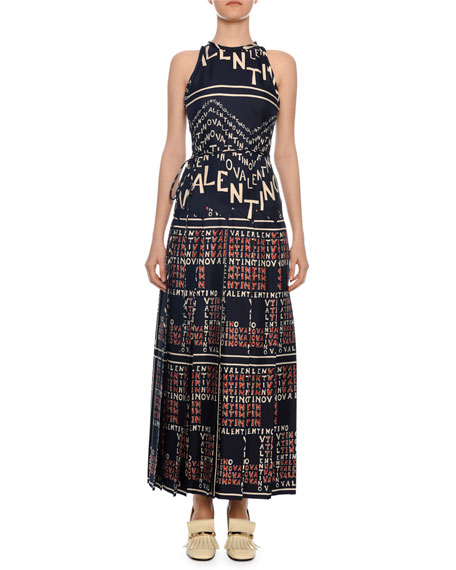 Valentino Sleeveless Logo Puzzle-Print A-Line Ankle-Length Silk Twill Dress