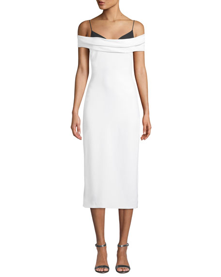 CUSHNIE Two-Tone Off-the-Shoulder Stretch-Cady Pencil Dress