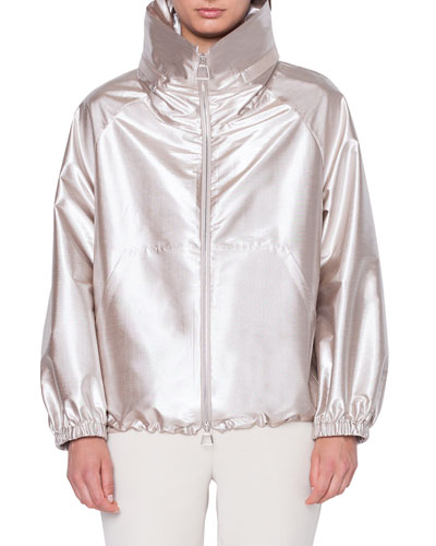 Veronique High-Neck Metallic Bomber Jacket